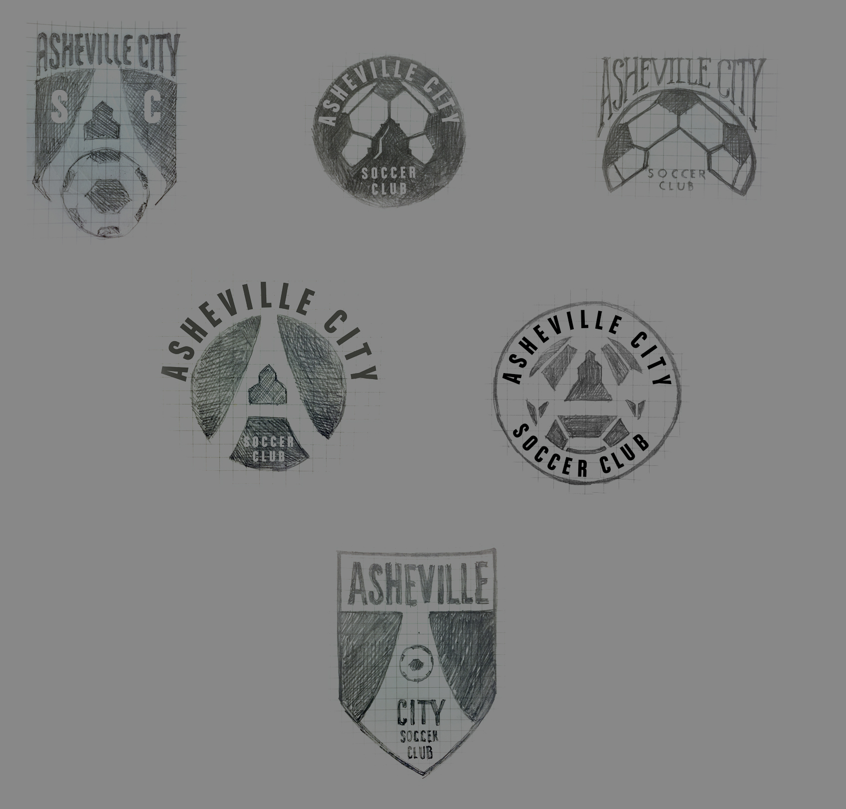 Initial Sketches - Logo Design for Asheville City Soccer Club