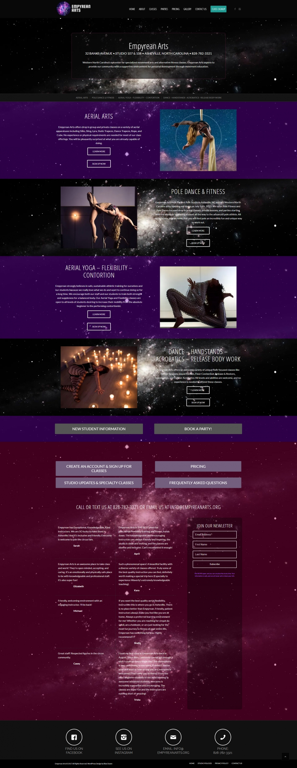 Web Site Design for Empyrean Arts